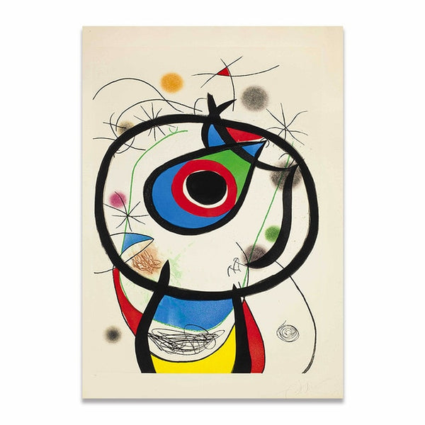 Jean Miro Abstract Style Classic Color Decor Famous Wall Art HQ Canvas Print