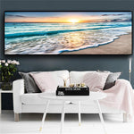 Natural Gold Beach Sunset Landscape Posters And Prints Canvas Painting Mediterran (Canvas Print)