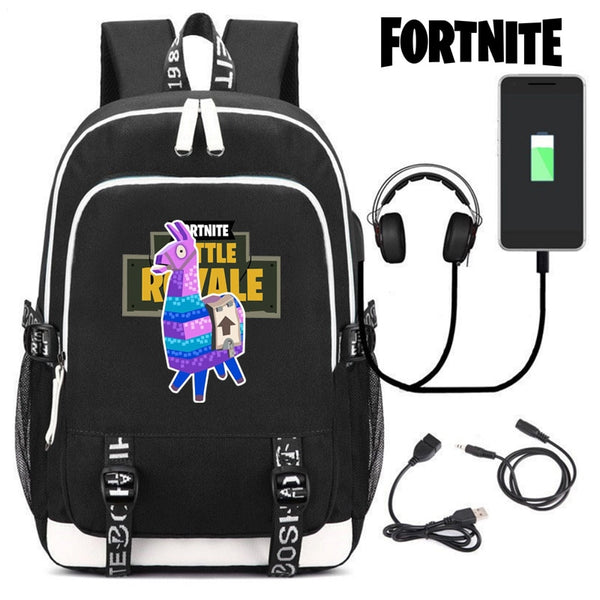 Cool Fortnite Game Canvas Student Office Backpack Outdoor USB Interface