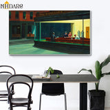 Hopper Nighthawks Classic Artwork Reproduction HQ Canvas Print Painting