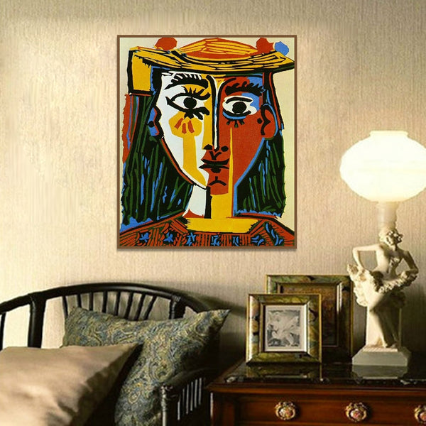 Pablo Picasso Woman in a Hat Cubism Wall Art Decor HQ Canvas Print Famous Artwork