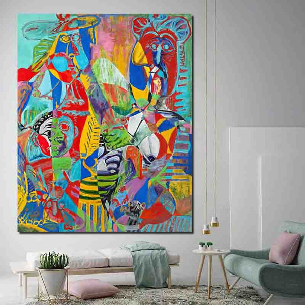 Pablo Picasso Contemporary colors 2 Art HQ Canvas Print Painting with frame