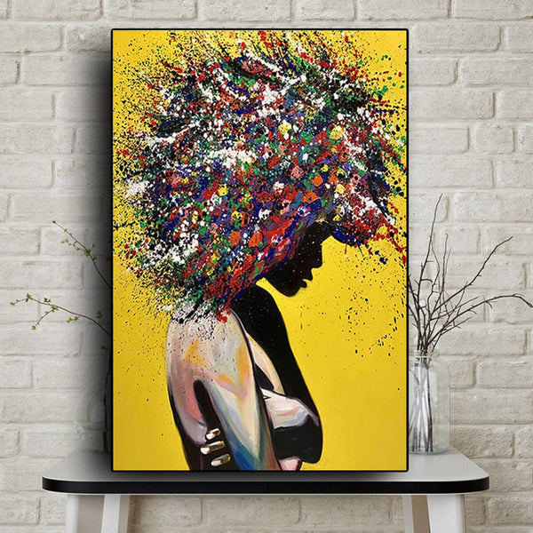 Painted Nude Sexy African Woman Body Oil Painting HQ Canvas Print Wall Art