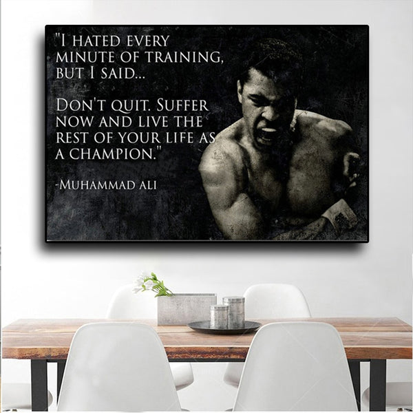 Poster Muhammad Ali Motivational Quote Wall Art Canvas Painting Inspirational Sport
