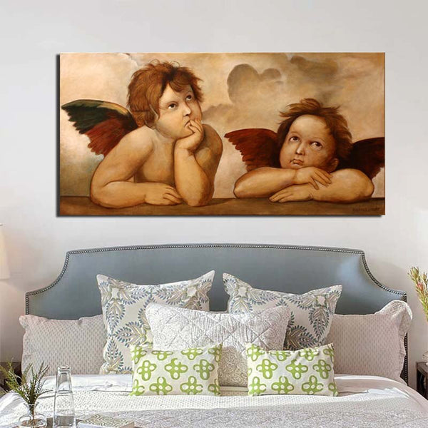 Raphael Little Angel with frame Wall Art HQ Canvas Print