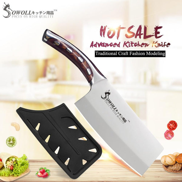 Sowoll Brand 4Cr14Mov Stainless Steel Kitchen Knives 7 Inch Chopping Knife Resin Fibre Handle