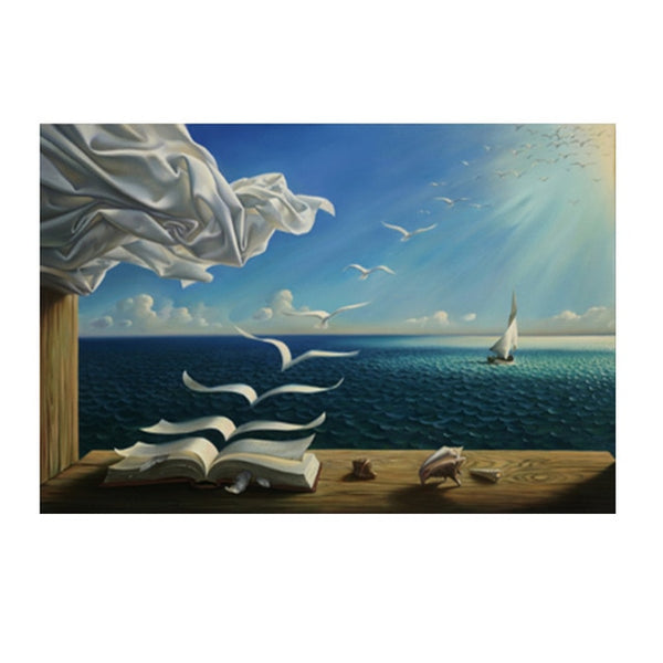 Salvador Dali The Waves Book Sailboat Oil Painting HQ Canvas Print