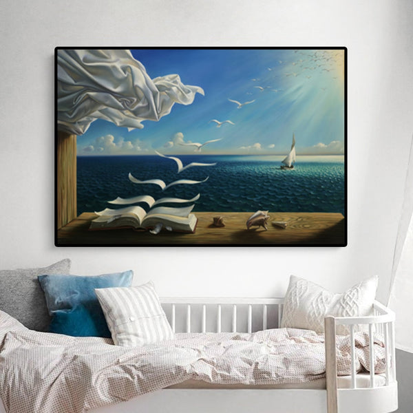 Salvador Dali The Waves Book Sailboat Oil Painting HQ Canvas Print Posters