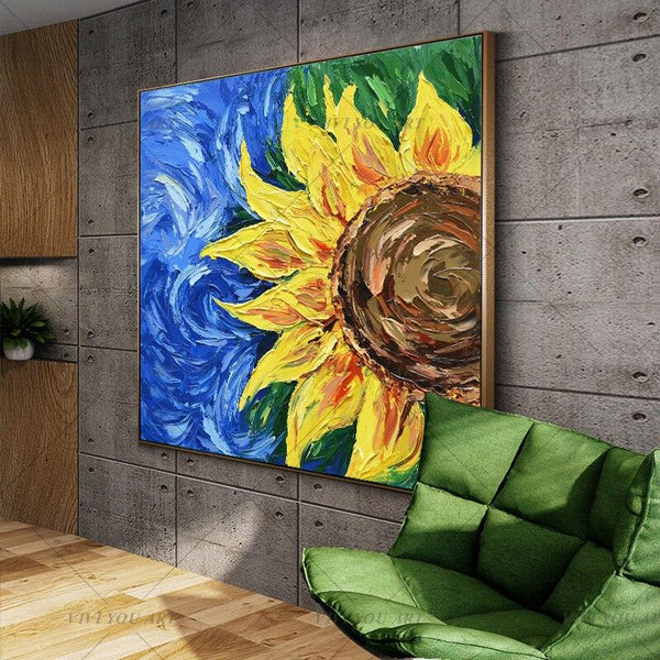 Skill Artist High Quality Good Texture Knife Flower Picture Handmade Sunflowers Oil Painting