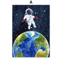 Kamaliʻi Mokuna Mokuna Astronaut Planet Rocket Earth UFO Nursery Wall Art Decor HQ Canvas Print