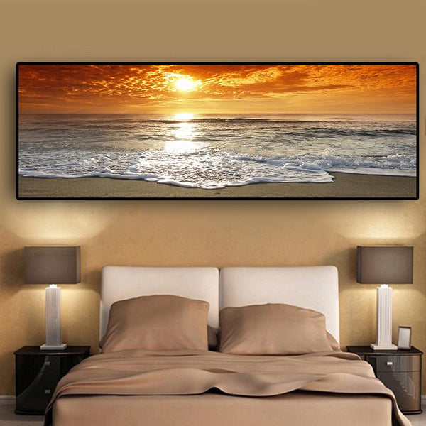 Sunsets Natural Sea Beach Landscape Posters And Prints Canvas Painting Panorama Scandinavian Wall