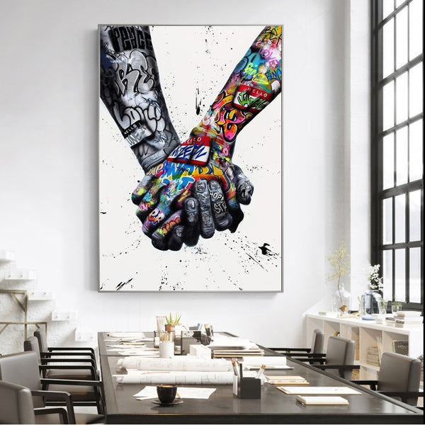 Tattoo Hand Street Graffiti Art HQ Canvas Print Wall Art