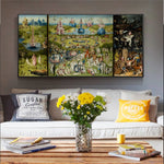 3 Panel Bosch Garden of Earthly Delights HQ Canvas Print Painting Hieronymus
