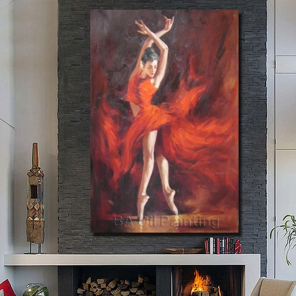 Hand Painted High Quality Red Dress Dance Girl Oil Painting