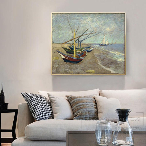 Van Gogh Reproduction Fishing Boats At St. Marys Beach Oil Painting