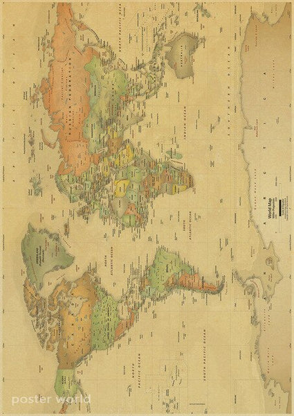 Vintage World Map Home Decoration Detailed Antique Poster Retro Cloth Globe Old Nautical Map
