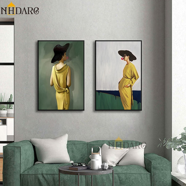 2 Panel Vogue Fashion HQ Canvas Print Painting Yellow Dress Woman