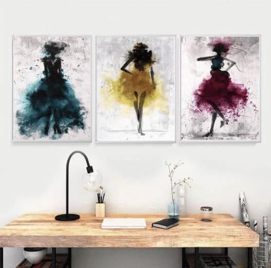 Hq Canvas Print Wall Art Watercolor Ballerina With Frame