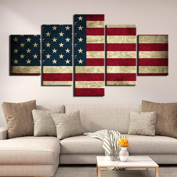 Wall Art 5 Pcs Artwork National flag HQ Canvas Print frame available