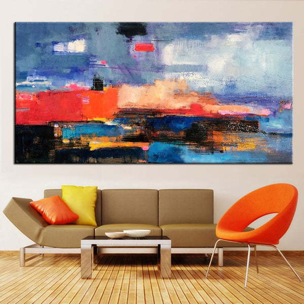 Abstract Colors Large Hand Painted Decorative Oil Painting Canvas