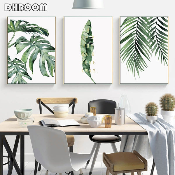 Watercolor Leaves Wall Art Canvas Painting Green Style Plant Nordic HQ Canvas Print