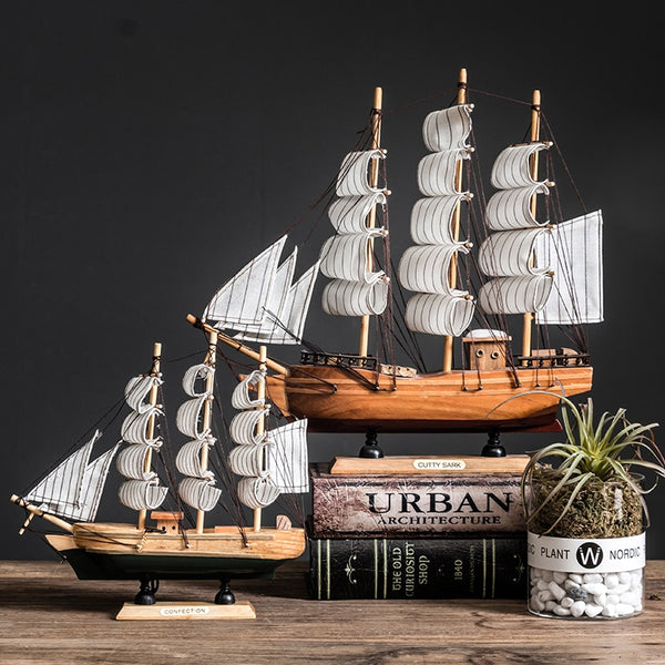 With LED Light Caribbean Black Pearl Corsair Sailing Boats Wooden Sailboat Model