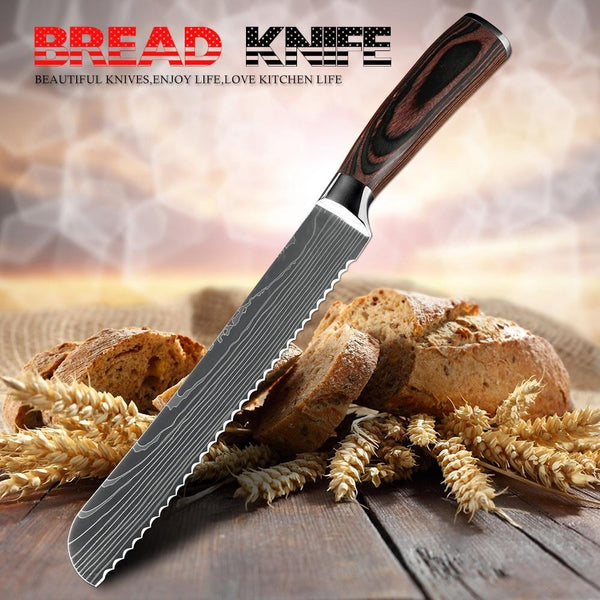 Xituo Kitchen Bread Knife Serrated Design Laser Damascus Stainless Steel Blade 8 Inch Chef Knives