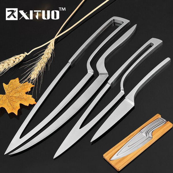 Xituo Kitchen Knife 4Pcs Set Multi Cooking Tool Stainless Steel Durable Chef Dining & Bar Unique