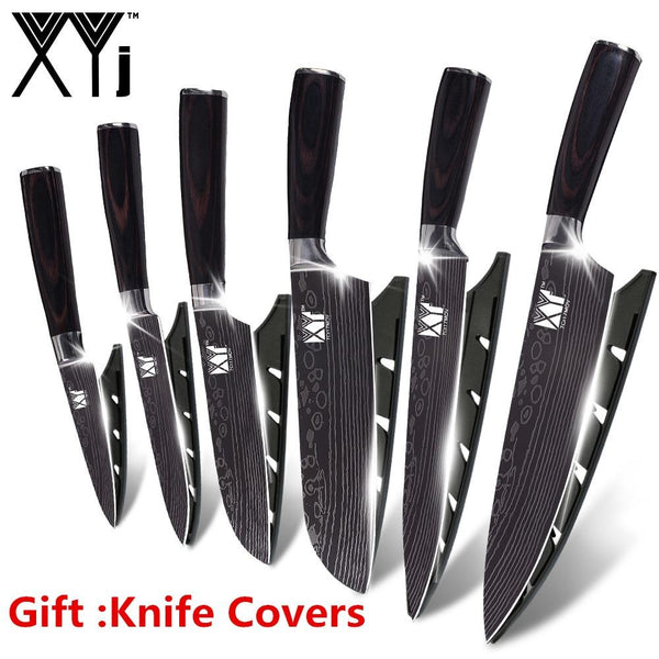 Xyj 7Cr17 Stainless Steel Kitchen Knife Cutlery Cooking Tools Damascus Veins Set Accessories