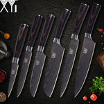 Xyj Kitchen Knife Cook Sets Damascus Pattern 7Cr17 Stainless Steel Chef Slicing Santoku Utility