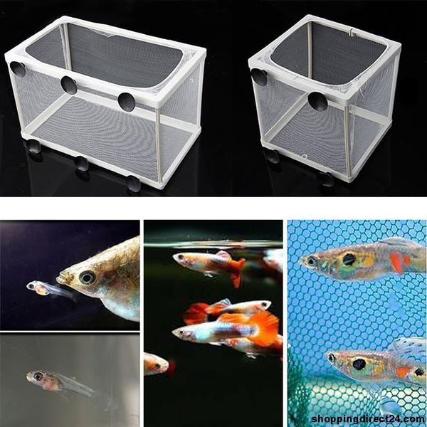 Aquarium Fish Breeding Boxes Double Guppies Baby Gauze Trap Box Isolator Mini Tanks
