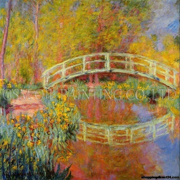 Artist Team Directly Supply High Quality Reproduction Monet Japanese Bridge Oil Painting On Canvas