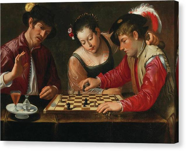 Caravaggio Chess Players 17th Century - Stretched Canvas Print Ready to Hang