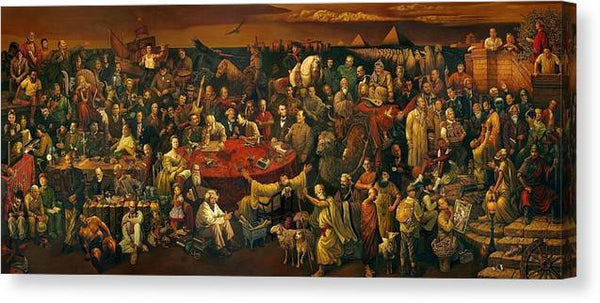 Discussing the Divine Comedy with Dante 100 World Figures 2600x1105.jpg - Stretched Canvas Print Ready to Hang