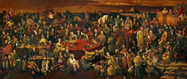 Discussing the Divine Comedy with Dante 100 World Figures 2600x1105.jpg - Art Print