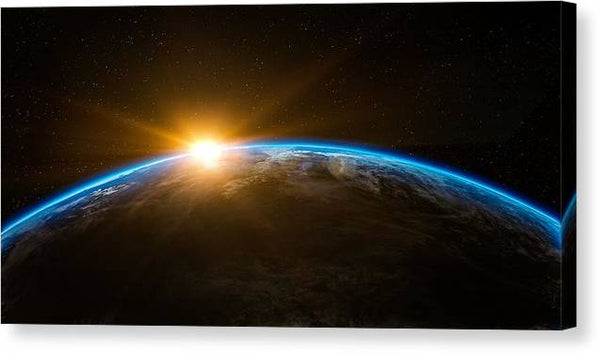 Earth Space Sunlight Sun Rays Sunrise Sunshine -  Stretched Canvas Print Ready to Hang