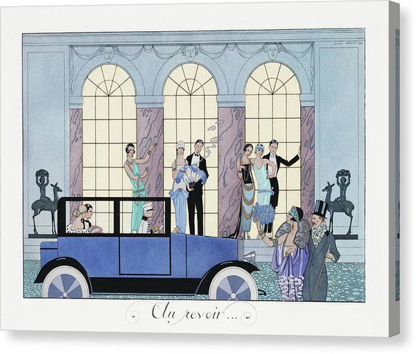 George Barbier Au Revoir 1920 fashion illustration in high resolution - Stretched Canvas Print Ready to Hang
