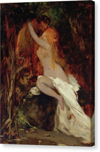 Hans Makart Faun And Nymph 1865 - Stretched Canvas Print Ready to Hang