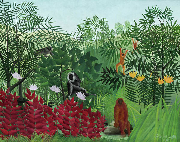 Henri Rousseau Tropical Forest with Monkeys 1910 - Art Print