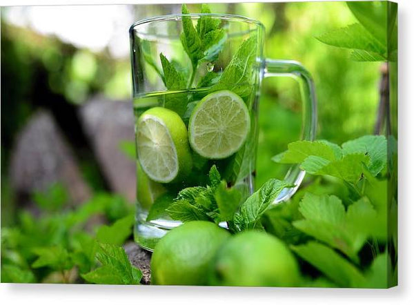 Mint Peppermint Detox Detox Water Water Lime -  Stretched Canvas Print Ready to Hang