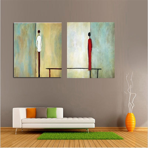 Aritist Hand painted 2 Panel Acrylic Painting Abstract Man Woman