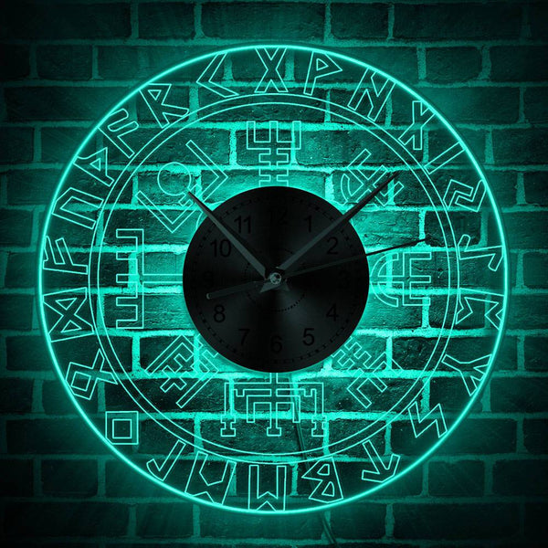 Vegvisir Viking Compass Vintage Design Illuminated Wall Clock Runic Color Changing Light Protection