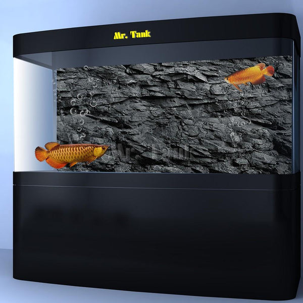 Mr.tank 3D Effect Black Stone Texture Aquarium Background Poster Hd Rock Selfadhesive Fish Tank