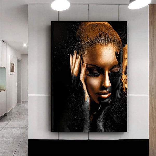 Hq Canvas Print Black Gold African Art Woman Wall Picture Products On Etsy