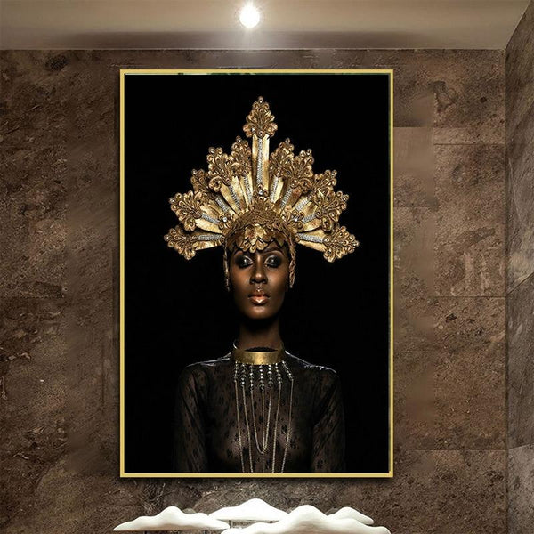 Hq Canvas Print Old Crown Black African Woman Wall Art Picture Products On Etsy