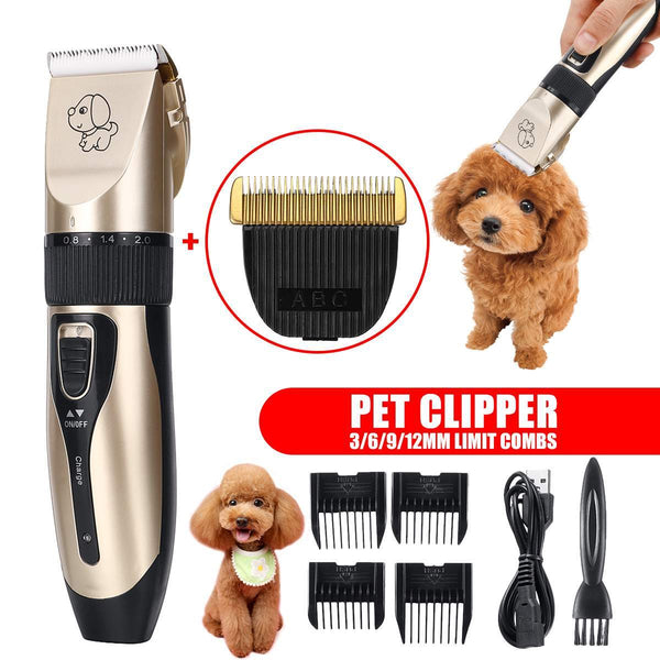Professional Pet Dog Hair Trimmer Low-Noise Clipper Machine Rechargeable Grooming Electric Cutter+