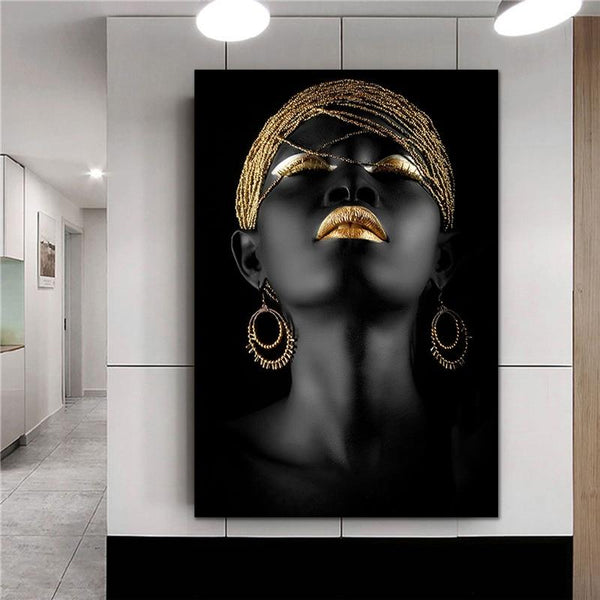 High Quality Canvas Print Africa Black Art Woman Oil Painting Printed Posters Prints Modern Big Size