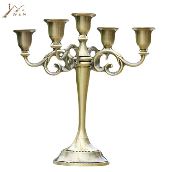 Silver/gold/bronze/black 3-Arms Metal Pillar Candle Holders Candlestick Wedding Decoration Stand