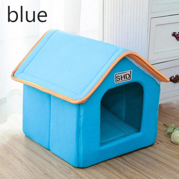 Pet Dog House Foldable Bed With Mat Soft Winter Leopard Puppy Sofa Cushion Kennel Nest Cat Small