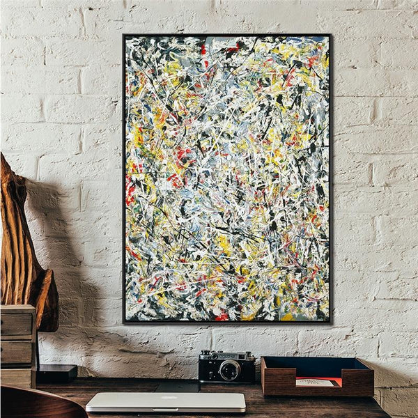 High Quality Giclee Print White Light By Jackson Pollock Abstract Painting Wall Art Replic Famous
